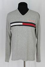 Vintage TOMMY HILFIGER JEANS Long Sleeve V-Neck T-Shirt Flag Logo Sz M