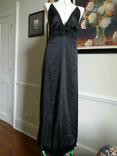 MYLA Nancy chemise black 100% pure silk long night dress / night gown Size L