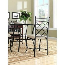 Mainstays 5 Piece Glass Top Metal Dining Set Table Chairs Kitchen Furniture NEW