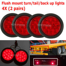 "4X Red 12 LED 4"" Round Truck Trailer Brake Stop Turn Tail Lights Lamp Waterproof"