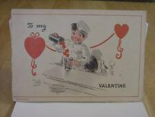 Vintage LOV-O-GRAM Pop-Up Valentine Card:Girl At Soda Fountain-TWELVETREES-1930s