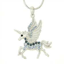 W Swarovski Crystal UNICORN Blue Flying Pegasus Horse Pendant New Necklace Charm