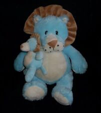 "14"" GANZ LUVEMS LION MOM W/ BABY BLUE RATTLE STUFFED ANIMAL PLUSH TOY SOFT CLEAN"