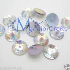 50x Crystal AB 12mm Flat Back Pointed Resin Rivoli Rhinestones Craft Gems Studs