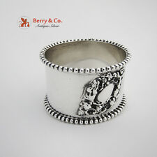 Cherub Scroll Beaded Rim Napkin Ring Sterling Silver Watrous 1900