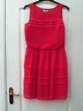 NEW LOOK CORAL PINK SHEER PINTUCK PLEATED TIER FLOATY STRAPPY TEA SHIFT DRESS 12