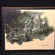 VINTAGE LITHO ON MASONITE FROM B.P. CO SCENE OF OLD CAR AND HOUSE ARTIST SIGNED