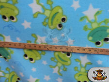 """Fleece Printed Fabric FROG STARS / 58"""" Wide / Sold by the yard"""
