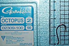 100 Gamakatsu Hooks Octopus Black size 2 trout walleye style #02409
