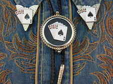 ACE OF SPADES PLAYING CARDS BOLO TIE AND COLLAR TIPS SET,SILVER METAL,WESTERN