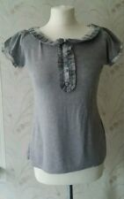 Atmosphere Grey Marl Check Trim T-Shirt Style Top Size 14