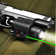 Tactical Combo Cree Led Flashlight + Green Laser Sight Fit For Pistol Gun Glock