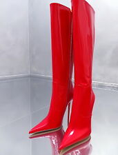 1969 ITALY LACK LEDER HOHE STIEFEL STILETTO Z22 BOOTS SCHUHE LEATHER HIGH HEELS
