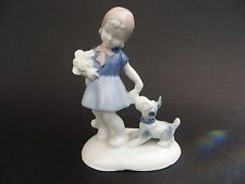 Gerold Porzellan Vintage Porcelain Figurine, Girl with Dog, West Germany.