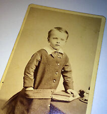 Antique Victorian Adorable Child W/ Book Identified! Fort Edward, NY! CDV Photo!