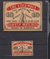Ancienne étiquette   allumettes  Suède AZ1137 Columbia Femme