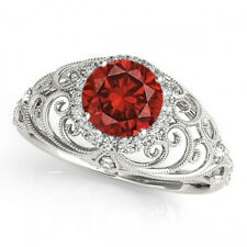 1.19 Ct Fancy Red Diamond Halo Bridal Huge Ring Best Price 14k White Gold Classy