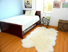 Nursery Rug 3' x 5' White Sheepskin Bear Wolf Fox Coyote Luxury Faux Fur Rugs