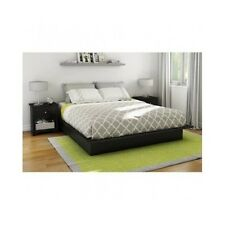Modern Platform Bed Queen Size Frame Bedroom Furniture Black Low Profile Home
