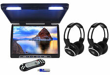 "Rockville RVM18FD-BK 18"" Black Flip Down Monitor w/ USB/SD+Wireless Headphones"