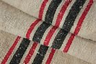GRAIN SACK feedsack feed bag LINEN Black + Red heavy hemp homespun old ~lovely