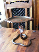 Vintage Bronze Brass Carved Indian King Cobra Statue Holder Tray Ashtray Stand