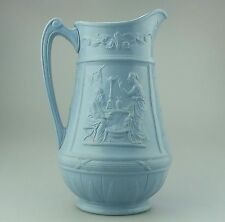 Antique English Pottery : Moulded Jug with Classical Scenes C.19thC
