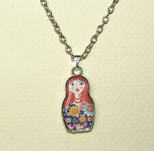 BLUE FLOWER RUSSIAN DOLL SILVER PLATED charm PENDANT kitsch collectable