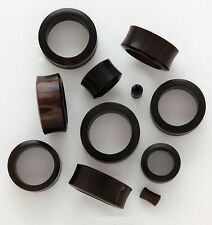 "1 Pair 2) 1/2"" 12mm Black Areng Organic Natural Wood Tunnels Plugs Ear Gauge 587"