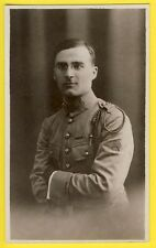 cpa Carte Photo MILITAIRE SOLDAT en UNIFORME vers 1930 Fourragère Grade