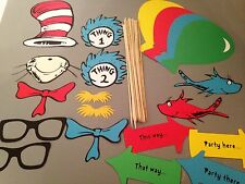 20 pc Cat in the Hat Photobooth Props, Dr. Seuss Photo Props