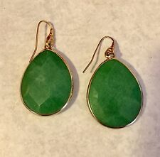 Stella & Dot Serenity Stone Jade Teardrop Earrings Authentic!