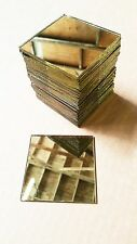 "100Pcs 3x3"" HANDCUT GLASS Gold Mirrors Mosaic Tiles Tile Art Craft Supply NEW"