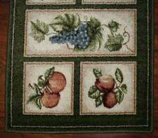 2X9 Runner Mat Rug Green Beige Washable Fruit Grapes Pears Apples Kitchen Cute