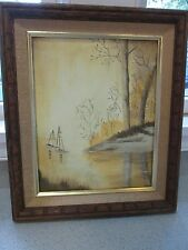 VTG ORIGINAL OIL ACRYLIC PAINTING SAIL BOATS FOREST RIVER  OCEAN YELLOW UNSIGNED