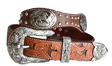 MEN WESTERN COWBOY LONGHORN HORSE STUDS  RODEO BROWN BUCKLE LEATHER BELT STAR XL
