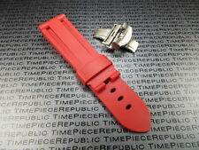 26mm Red Rubber Diver Strap Deployment Buckle Watch Band Set PAM XB