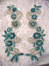 FLORAL APPLIQUES TURQUOISE SILVER MIRROR PAIR SET SEQUIN BEADED (0183)