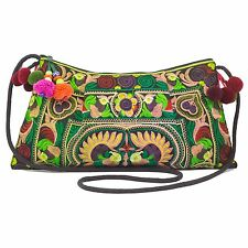 Hmong Bag Hill Tribe Embroidered Green Bird Thai Ethnic Boho Hippie Bags