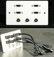 Audio Visual AV Wall Plate, 4 x HDMI & 3 x F-type Satellite / Cable sockets