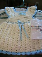 ANTIQUE WHITE SHELLS BLUE TRIMS CROCHET BABY DRESS & TIGHTS size 12-24 mos