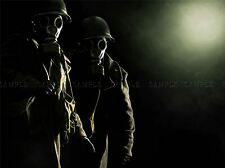 SOLDIERS GAS MASK TRENCH SPOOKY PHOTO ART PRINT POSTER PICTURE BMP2220A