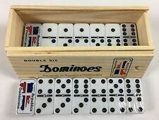 Dominos Professional Size With Dominican Republic Flag Design--In Wooden Box.