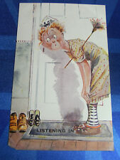 Comic Postcard 1920s VINTAGE WIRELESS RADIO Theme - LISTENING IN