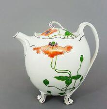 Nymphenburg Jugendstil Teekanne, Entwurf Max Rossbach, Mohnblumen