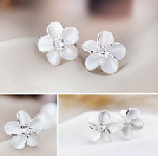 Charm Chic Women Lady Sterling Silver Plated Flower Type Ear Stud Earrings Gift