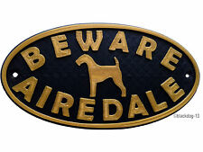 Airedale Terrier Motif Beware Of The Dog Sign  House Garden Plaque - Black/Gold