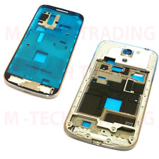 NEW SAMSUNG S4 MINI i9195 INNER MID REAR WHITE CHASSIS & FRONT LCD SILVER TRIM