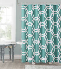 Honey Circle Geometric Aqua Blue White Fabric Shower Curtain Victoria Classics