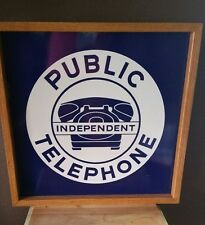 ☆☆Public Independent Double Sided Porcelain Metal Sign W/ Wooden Border☆ RARE!!